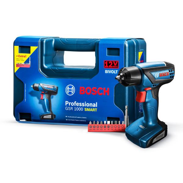 Imagen para Taladro atornillador inalámbrico Bosch GSR 1000 Smart 12V con 1 batería y kit de accesorios de boschmx