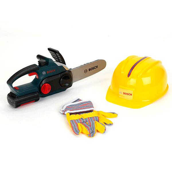Imagen para Sierra de cadena Bosch con casco y guantes protectores de boschmx